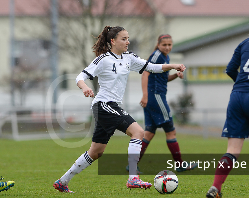 20150404 - FORST , GERMANY  : German Maria-Joelle Wedemeyer  pictured during the soccer match between Women Under 19 teams of Germany and Scotland , on the first matchday in group 5 of the UEFA Elite Round Women Under 19 at WaldseeStadion , Forst , Germany . Saturday 4th April 2015 . PHOTO DAVID CATRY