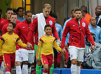 England Captain Steven Gerrard leads the team out.