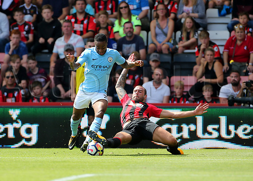 26th August 2017, Vitality Stadium, Bournemouth, England; EPL Premier League football, Bournemouth versus Manchester City;   Raheem Sterling of Manchester City is dispossessed by Steve Cook of Bournemouth