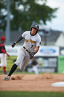 West Virginia Black Bears designated hitter Bligh Madris (7) running the bases during a game against the Batavia Muckdogs on June 25, 2017 at Dwyer Stadium in Batavia, New York.  Batavia defeated West Virginia 4-1 in nine innings of a scheduled seven inning game.  (Mike Janes/Four Seam Images)