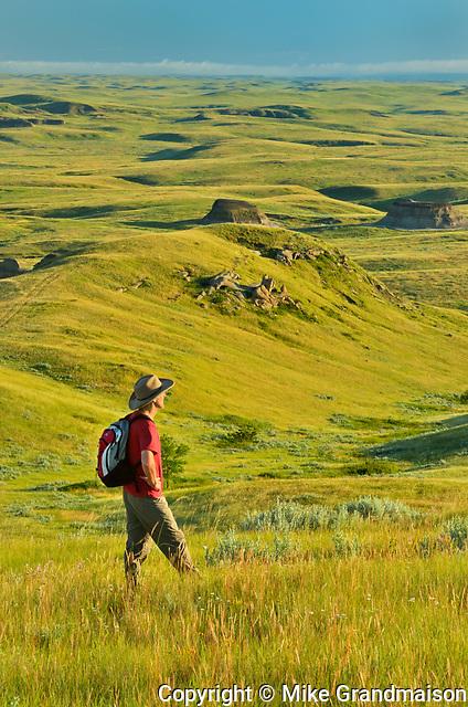 Hiking in grasslands<br />Grasslands National Park<br />Saskatchewan<br />Canada