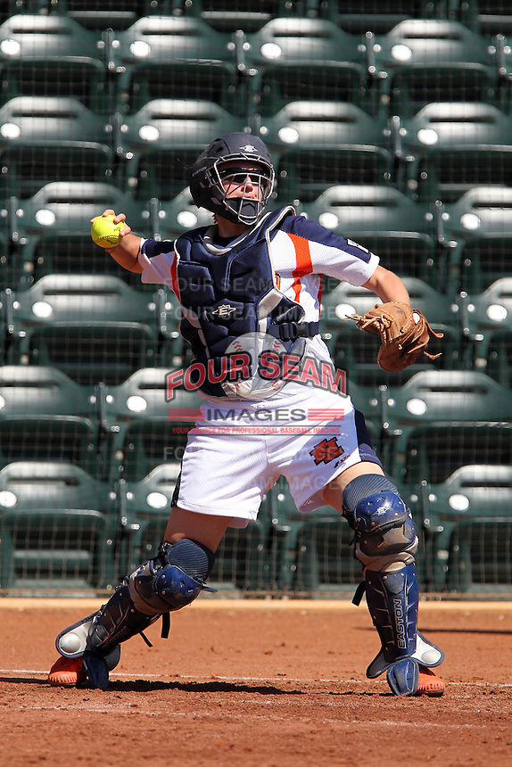 Netherlands catcher Nathalie Timmermans #26 during a game against Rutgers at the USF Bulls Softball Complex on March 14, 2012 in Tampa, Florida.  (Mike Janes/Four Seam Images)