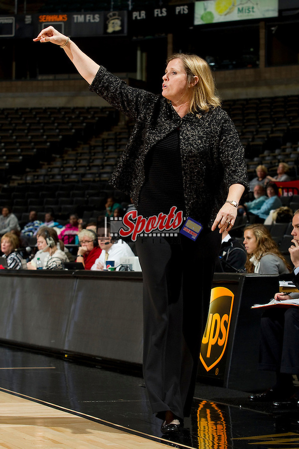 Wake Forest Demon Deacons head coach Jen Hoover calls out a play during second half action against the UNCW Seahawks at the LJVM Coliseum on November 14, 2012 in Winston-Salem, North Carolina.  The Demon Deacons defeated the Seahawks 60-59.    (Brian Westerholt/Sports On Film)