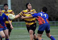 Action from the 2018 Hurricanes Secondary Schools Under-15 Boys' Rugby Tournament match between Hato Paroa and Porirua at Maidstone Park in Wellington, New Zealand on Thursday, 6 September 2018. Photo: Dave Lintott / lintottphoto.co.nz