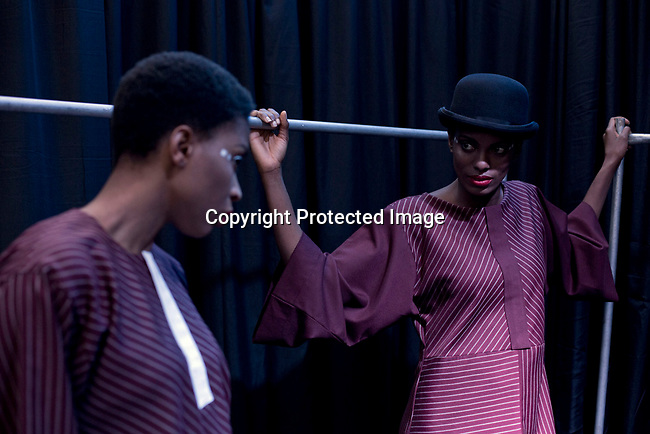 JOHANNESBURG, SOUTH AFRICA OCTOBER 30: Models walking for the Nigerian designer label Mai Atafo Inspired wait backstage before a show at Mercedes Benz Africa fashion week Africa on October 30, 2014 held at Melrose Arch in Johannesburg, South Africa. Designers from all over Africa showed their best collections at the yearly event. (Photo by: Per-Anders Pettersson)