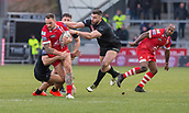 10th February 2019, AJ Bell Stadium, Salford, England; Betfred Super League rugby, Salford Red Devils versus London Broncos; Jackson Hastings of Salford Red Devils is tackled by Eloi Pelissier and Will Lovell of London Broncos