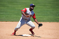 Williamsport Crosscutters second baseman Josh Tobias (33) stretches for a throw during a game against the Batavia Muckdogs on July 16, 2015 at Dwyer Stadium in Batavia, New York.  Batavia defeated Williamsport 4-2.  (Mike Janes/Four Seam Images)