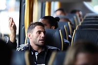 Wednesday 07 August 2013<br /> Pictured: Angel Rangel, on the bus en route to Cardiff Airport.  <br /> Re: Swansea City FC travelling to Sweden for their Europa League 3rd Qualifying Round, Second Leg game against Malmo.