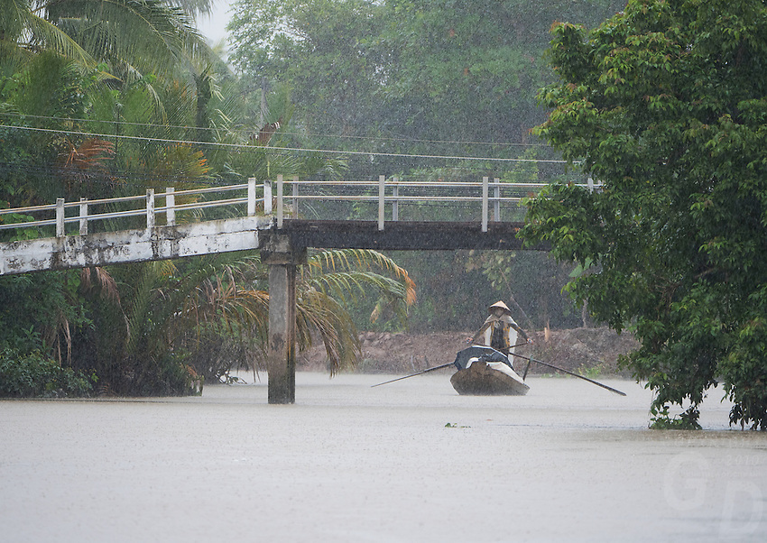 """Almost zero visibility during a heavy Monsoon rain storm near Can Tho, the hub of the Mekong Delta (Vietnamese: Đồng bằng Sông Cửu Long """"Nine Dragon river delta""""), also known as the Western Region (Vietnamese: Miền Tây or the South-western region (Vietnamese: Tây Nam Bộ) is the region in southwestern Vietnam where the Mekong River approaches and empties into the sea through a network of distributaries. The Mekong delta region encompasses a large portion of southwestern Vietnam of 39,000 square kilometres (15,000sqmi). The size of the area covered by water depends on the season.<br /> The Mekong Delta has been dubbed as a """"biological treasure trove"""". Over 1,000 animal species were recorded between 1997 and 2007 and new species of plants, fish, lizards, and mammals has been discovered in previously unexplored areas, including the Laotian rock rat, thought to be extinct."""