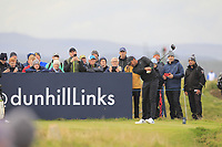Tony Finau (USA) on the 15th tee during Round 4 of the Alfred Dunhill Links Championship 2019 at St. Andrews Golf CLub, Fife, Scotland. 29/09/2019.<br /> Picture Thos Caffrey / Golffile.ie<br /> <br /> All photo usage must carry mandatory copyright credit (© Golffile | Thos Caffrey)