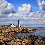 Billowing Clouds Over What Is Arguably The Most Iconic And Beautiful New England Lighthouse, The Portland Head Light In The Morning, Portland, Maine, USA