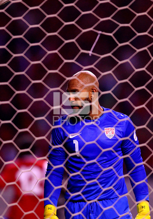 SAN JOSE, COSTA RICA - September 06, 2013: Tim Howard (1) of the USA MNT watches the ball in the back of the net for the second Costa Rica MNT goal during a 2014 World Cup qualifying match at the National Stadium in San Jose on September 6. USA lost 3-1.