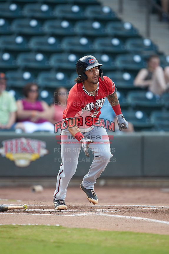 Eddie Silva (28) of the Carolina Mudcats starts down the first base line against the Winston-Salem Dash at BB&T Ballpark on June 1, 2019 in Winston-Salem, North Carolina. The Mudcats defeated the Dash 6-3 in game one of a double header. (Brian Westerholt/Four Seam Images)