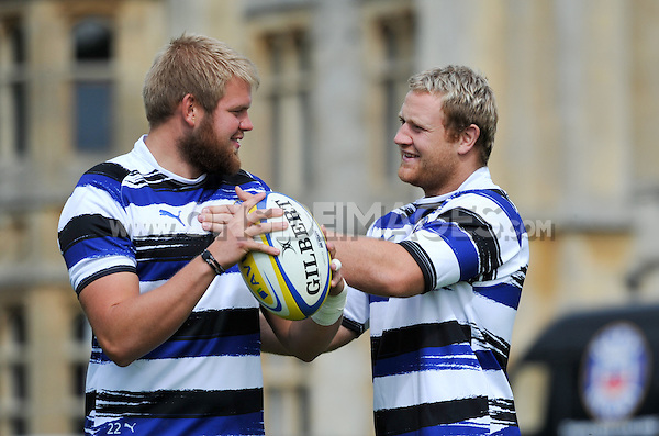 Mark Lilley and Ross Batty share a joke prior to the training session. Bath Rugby training session on August 2, 2011 at Farleigh House in Bath, England. Photo by: Patrick Khachfe/Onside Images