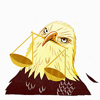 Angry bald eagle with scales of justice in beak