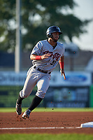 Tri-City ValleyCats third baseman Abraham Toro-Hernandez (31) runs the bases during a game against the Batavia Muckdogs on July 15, 2017 at Dwyer Stadium in Batavia, New York.  Tri-City defeated Batavia 5-4.  (Mike Janes/Four Seam Images)