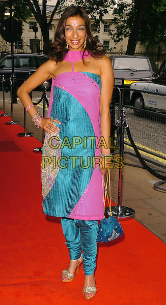 SHOBNA GUALTI.CRE Race in the Media Awards, .London, June 28th 2005..full length indian traditional sari style dress trousers pink turquoise green bhindi bindhi Gulati.Ref: CAN.www.capitalpictures.com.sales@capitalpictures.com.©Can Nguyen/Capital Pictures