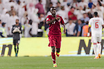 Almoez Ali of Qatar celebrating his score during the AFC Asian Cup UAE 2019 Semi Finals match between Qatar (QAT) and United Arab Emirates (UAE) at Mohammed Bin Zaied Stadium  on 29 January 2019 in Abu Dhabi, United Arab Emirates. Photo by Marcio Rodrigo Machado / Power Sport Images