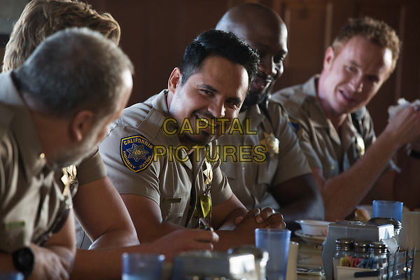 CHIPS (2017)<br /> MICHAEL PENA as Ponch, RICHARD T. JONES as Parish and JESS ROWLAND as Rathbun <br /> *Filmstill - Editorial Use Only*<br /> FSN-K<br /> Image supplied by FilmStills.net