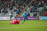 Jordy Hiwula of Fleetwood Town scores his side's first goal during the Sky Bet League 1 match between Plymouth Argyle and Fleetwood Town at Home Park, Plymouth, England on 7 October 2017. Photo by Mark  Hawkins / PRiME Media Images.