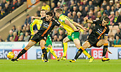 31st October 2017, Carrow Road, Norwich, England; EFL Championship football, Norwich City versus Wolverhampton Wanderers; Wolverhampton Wanderers midfielder Ruben Neves battles with Norwich City midfielder Marley Watkins