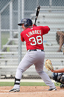 Boston Red Sox outfielder Juan Carlos Linares #38 during an Instructional League game against the Minnesota Twins at Red Sox Minor League Training Complex in Fort Myers, Florida;  October 3, 2011.  (Mike Janes/Four Seam Images)