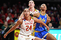 College Park, MD - March 25, 2019: Maryland Terrapins forward Stephanie Jones (24) boxes out UCLA Bruins forward Lajahna Drummer (11) after a free throw during second round game of NCAAW Tournament between UCLA and Maryland at Xfinity Center in College Park, MD. UCLA advanced to the Sweet 16 defeating Maryland 85-80.(Photo by Phil Peters/Media Images International)