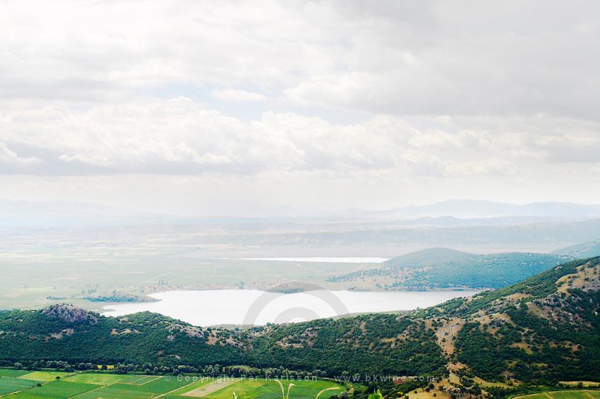View from Nymfeo Nimfeo Mountain to the plains and lake Zazari. Amyndeon Amindeo region, Macedonia, Greece