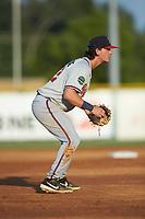 Danville Braves third baseman Cody Birdsong (12) on defense against the Burlington Royals at Burlington Athletic Stadium on August 9, 2019 in Burlington, North Carolina. The Royals defeated the Braves 6-0. (Brian Westerholt/Four Seam Images)