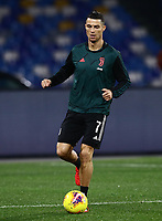 26th January 2020; Stadio San Paolo, Naples, Campania, Italy; Serie A Football, Napoli versus Juventus;  Cristiano Ronaldo of Juventus pre-game warm up