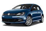 Stock pictures of low aggressive front three quarter view of 2016 Volkswagen Polo Blue-GT 5 Door Hatchback Low Aggressive