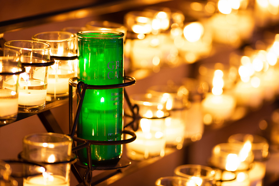 March 25, 2020; The Alumni Association 'Green Candle' at the Grotto (Photo by Matt Cashore/University of Notre Dame)
