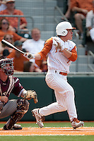 Texas Longhorns shortstop Jordan Etier #7 swings during the NCAA baseball game against the Texas A&M Aggies on April 28, 2012 at UFCU Disch-Falk Field in Austin, Texas. The Aggies beat the Longhorns 12-4. (Andrew Woolley / Four Seam Images).