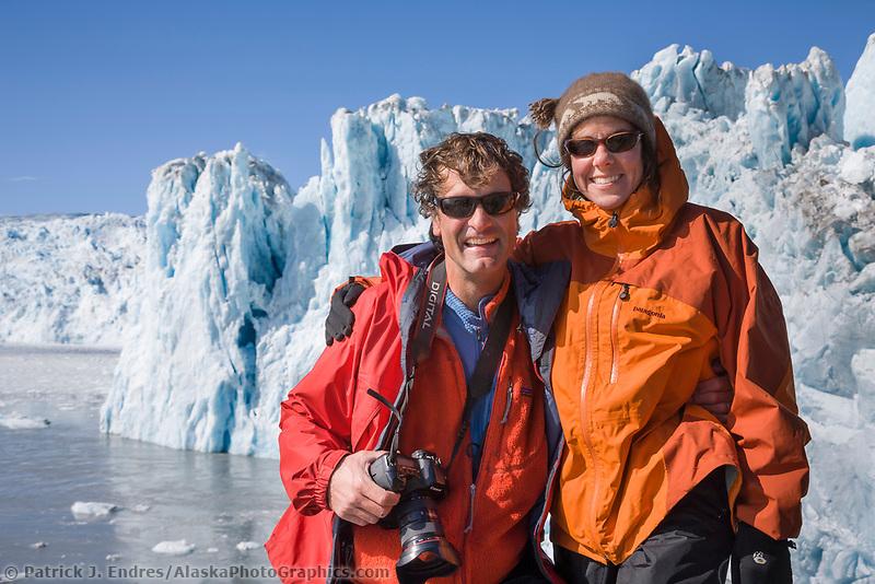 Guide Hugh Rose and Ali Blechman, Chenega glacier, Prince William Sound, Alaska.