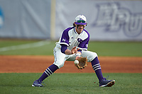 High Point Panthers third baseman Trent Harris (5) fields a ground ball during the game against the Campbell Camels at Williard Stadium on March 16, 2019 in  Winston-Salem, North Carolina. The Camels defeated the Panthers 13-8. (Brian Westerholt/Four Seam Images)