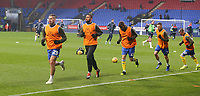 Leeds United players during the pre-match warm-up <br /> <br /> Photographer Stephen White/CameraSport<br /> <br /> The EFL Sky Bet Championship - Bolton Wanderers v Leeds United - Saturday 15th December 2018 - University of Bolton Stadium - Bolton<br /> <br /> World Copyright &copy; 2018 CameraSport. All rights reserved. 43 Linden Ave. Countesthorpe. Leicester. England. LE8 5PG - Tel: +44 (0) 116 277 4147 - admin@camerasport.com - www.camerasport.com