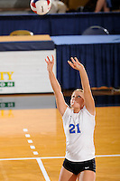20 November 2008:  Middle Tennessee defensive specialist Katie Brush (21) sets up a shot during the Middle Tennessee 3-0 victory over Arkansas State in the first round of the Sun Belt Conference Championship tournament at FIU Stadium in Miami, Florida.