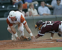 Texas catcher Cameron Rupp scores against Texas A&M on May 16th, 2008 in Austin Texas. Photo by Andrew Woolley / Four Seam Images.