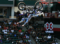 CARSON, CA. JULY 24, 2009: Airborne in Carson, Freestyle Motocross rider Nate Adams, wows the crowd July 30, 2009. X Games 15 begins today, at the Staples Center in downtown Los Angeles and at the Home Depot Center in Carson, July 30th-August 2nd.