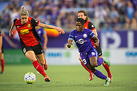 Orlando, Florida - Sunday, May 14, 2016: Orlando Pride forward Jasmyne Spencer (23) and Western New York Flash defender Alanna Kennedy (8) during a National Women's Soccer League match between Orlando Pride and New York Flash at Camping World Stadium.