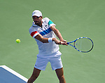 Julien Benneteau(FRA) is defeated by Raphael Nadal (ESP)  at the Western and Southern Financial Group Masters Series in Cincinnati on August 17, 2011.   Nadal won, 6-4, 7-5.