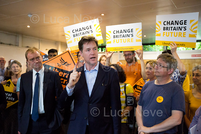 (From L to R) Tim Farron (Leader of the Liberal Democrats) &amp; Nick Clegg (Liberal Democrats politician and Former British Deputy Prime Minister of the Coalition Government 2010-2015 - Conservative Party and Liberal Democrats).<br /> <br /> Norbiton (England), 01/06/2017. Today, Tim Farron (Leader of the Liberal Democrats), Nick Clegg (Liberal Democrats politician and Former British Deputy Prime Minister of the Coalition Government 2010-2015 - Conservative Party and Liberal Democrats), Sarah Olney (Former Liberal Democrats Member of Parliament for Richmond Park, she will contest the same seat in the 2017 general election) and Ed Davey (Liberal Democrat politician, former Member of Parliament for Kingston and Surbiton from 1997 to 2015; Former Secretary of State for Energy and Climate Change from 2012 to 2015 in the Conservative-Liberal Democrat coalition Government) visited Kingston Hospital to meet and discuss with representatives of the EU national staff of the hospital which created the &quot;Brexit Support Group&quot;. The discussion was followed by a rally at the Shiraz Mirza Community Hall with members and supporters of the Liberal Democrats. <br /> <br /> For more information please click here: http://www.libdems.org.uk/manifesto<br /> <br /> For more information about the Hospital please click here: https://www.kingstonhospital.nhs.uk/