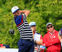 Brooks Koepka US Team tees off the 10th tee during Thursday's Practice Day of the 41st RyderCup held at Hazeltine National Golf Club, Chaska, Minnesota, USA. 29th September 2016.<br /> Picture: Eoin Clarke | Golffile<br /> <br /> <br /> All photos usage must carry mandatory copyright credit (&copy; Golffile | Eoin Clarke)