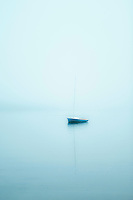 Sailboat in foggy weather, Cape Cod, MA