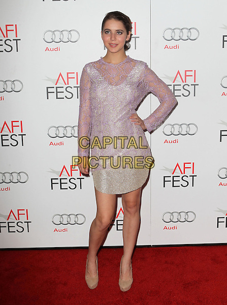Tessa Ia.AFI FEST 2012 'On The Road' gala screening, Grauman's Chinese Theatre, Hollywood, California, USA..3rd November 2012.full length pink purple lilac dress hand on hip lace sparkly .CAP/ADM/KB.©Kevan Brooks/AdMedia/Capital Pictures.