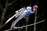 Tom Hilde of Norway soars through the air during the FIS World Cup Ski Jumping in Sapporo, northern Japan in February, 2008.