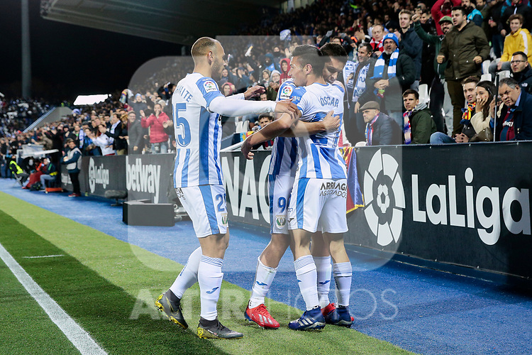 CD Leganes's (L-R) Martin Braithwaite, Guido Marcelo Carrillo and Oscar Rodriguez celebrate goal during La Liga match between CD Leganes and Levante UD at Butarque Stadium in Leganes, Spain. March 04, 2019. (ALTERPHOTOS/A. Perez Meca)