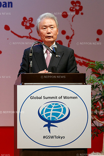 Sadayuki Sakakibara CEO of Keidanren speaks during the 2017 Global Summit of Women on May 11, 2017, Tokyo, Japan. The annual Global Summit of Women is being held in Tokyo for the first time with the objective of empowering Japanese women through the speeches of female leaders' from both the private and public sectors. The event is organized by the Washington-based NPO Globe Women and runs until May 13. (Photo by Rodrigo Reyes Marin/AFLO)