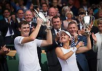 Jamie Murray (GBR) and Martina Hingis (SUI) (1) celebrate their victory against Henri Kontinen (FIN) &amp; Heather Watson (GBR) in the Final of the Mixed Doubles - Murray/Hingis def Kontinen/Watson 6-4, 6-4<br /> <br /> Photographer Ashley Western/CameraSport<br /> <br /> Wimbledon Lawn Tennis Championships - Day 13 - Sunday 16th July 2017 -  All England Lawn Tennis and Croquet Club - Wimbledon - London - England<br /> <br /> World Copyright &not;&copy; 2017 CameraSport. All rights reserved. 43 Linden Ave. Countesthorpe. Leicester. England. LE8 5PG - Tel: +44 (0) 116 277 4147 - admin@camerasport.com - www.camerasport.com