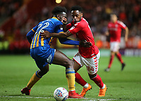Tariqe Fosu of Charlton Athletic takes the ball past Shrewsbury Town's Aristote Nsiala during Charlton Athletic vs Shrewsbury Town, Sky Bet EFL League 1 Play-Off Football at The Valley on 10th May 2018